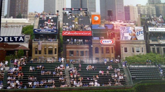 ads on buildings behind wrigley field cubs stadium