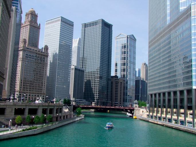 Chicago River Through Downtown