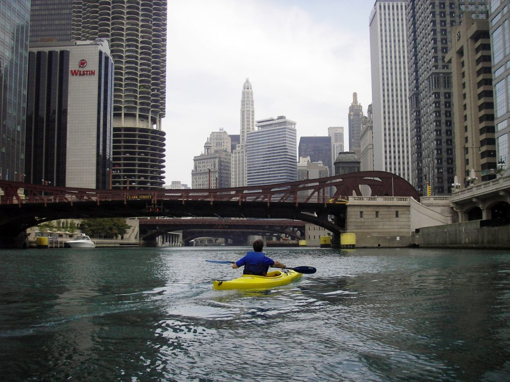 Kayaking through Chicago